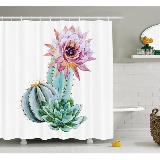 cactus decor shower curtain cactus spikes flower in hot mexican desert sand botanic natural. Black Bedroom Furniture Sets. Home Design Ideas