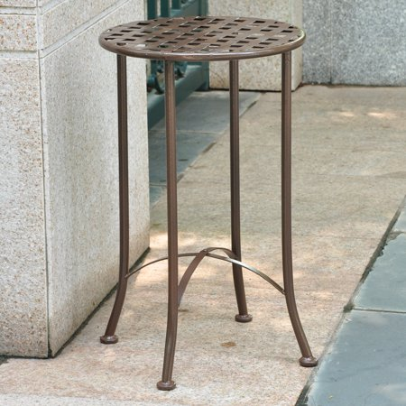 International Caravan Mandalay 15 in. Round Iron Metal Patio End Table