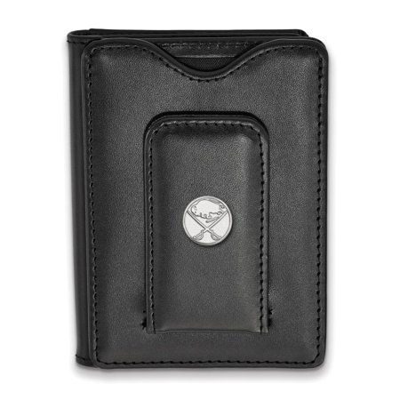 Buffalo Sabres Black Leather Wallet (Sterling Silver)