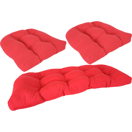 Jordan Manufacturing Oudoor Patio Tufted 3-Piece Wicker Cushion Set