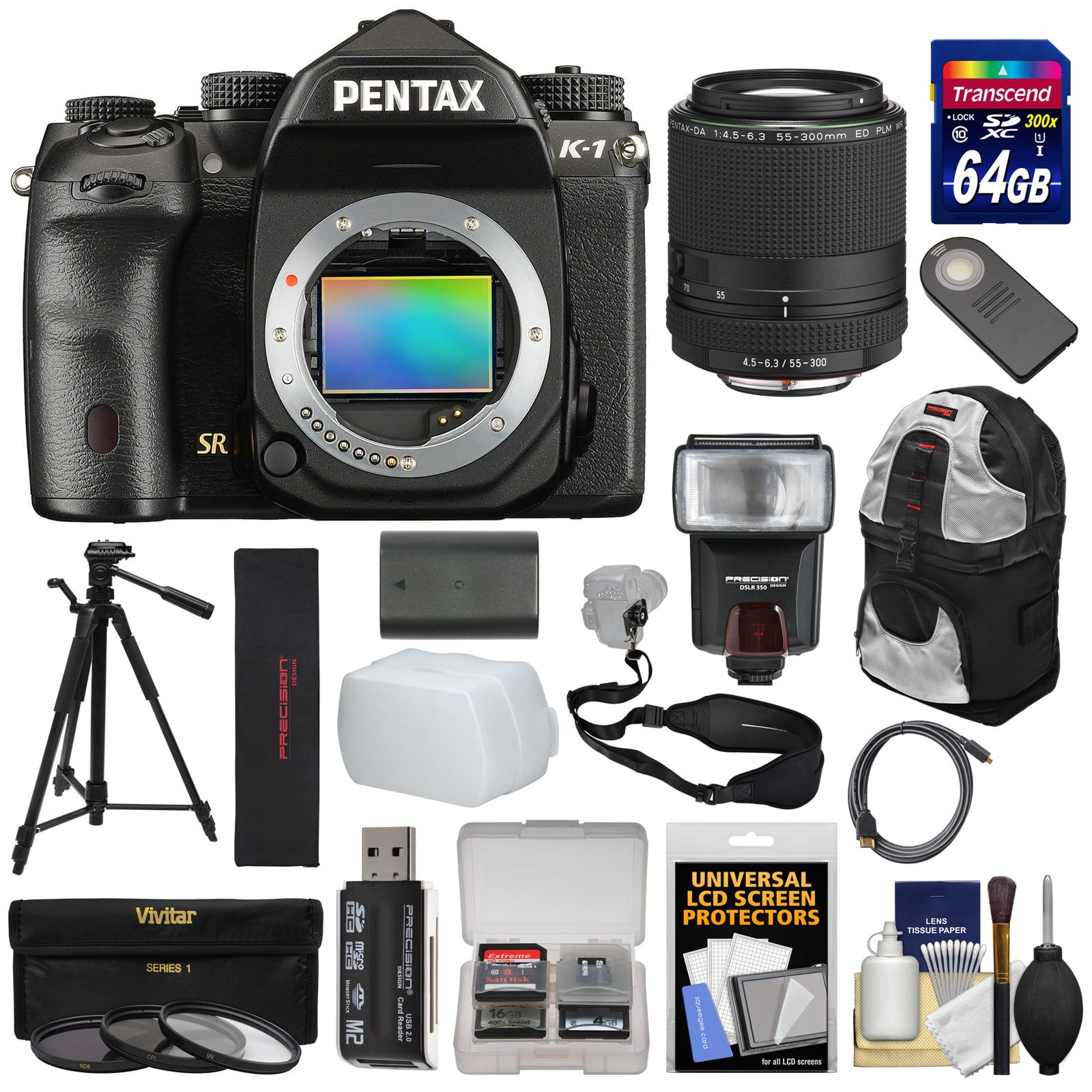 Pentax K-1 Mark II Full Frame Wi-Fi Digital SLR Camera Body & 55-300mm WR Lens with 64GB Card + Battery +... by Pentax