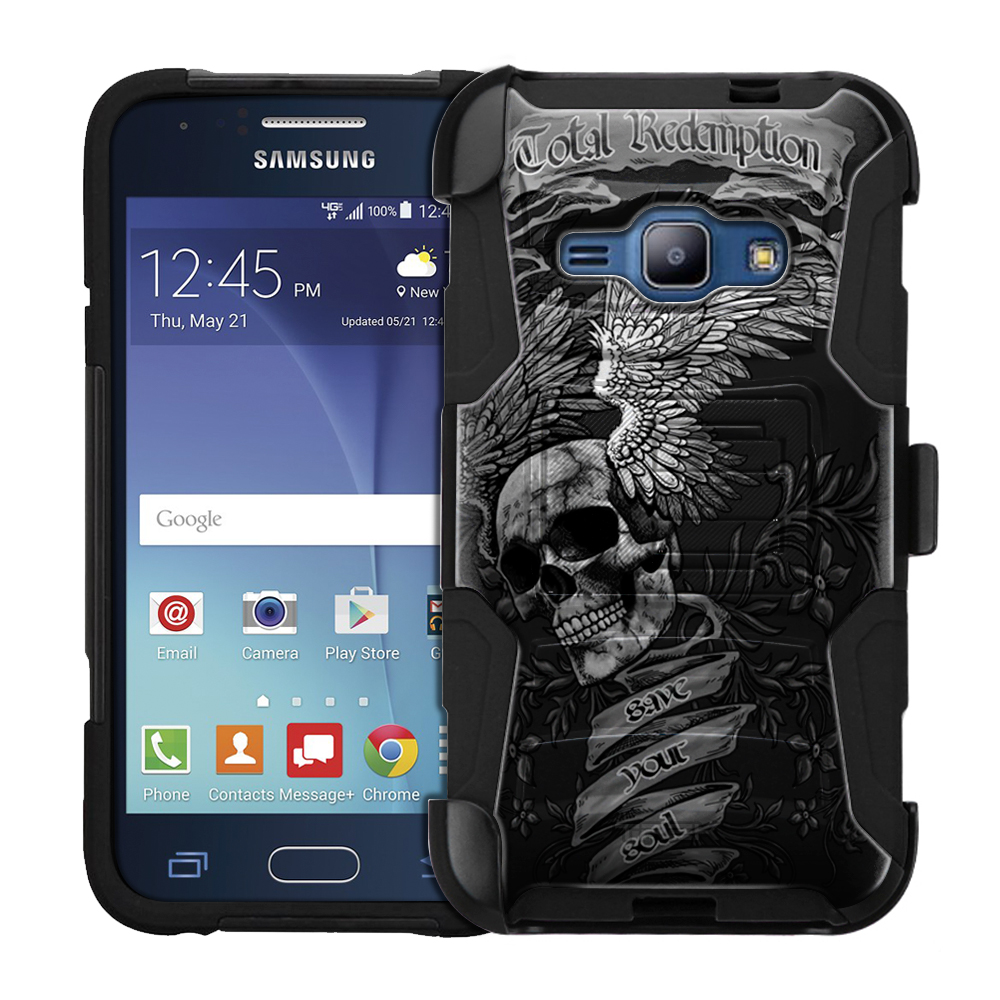 Samsung Galaxy Express 3 Armor Hybrid Case - Skull Wing on Black