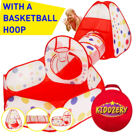 Fun Zone Play Tent - 3pc Kids Play Tent Crawl Tunnel and Ball Pit with Basketball Hoop - Durable Pop Up Playhouse Tent for Boys, Girls, Babies, Toddlers & Pets - for Indoor and Outdoor Use, With Carrying Case