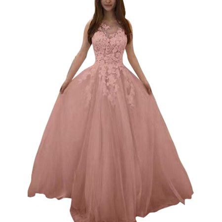 Plus Size Bridal - Plus Size Wedding Dress for Women Lace Crochet Formal Bridesmaid Dress Sleeveless V Neck Prom Gown Long Maxi Dress Party Cocktail  Pink S = US 4-6