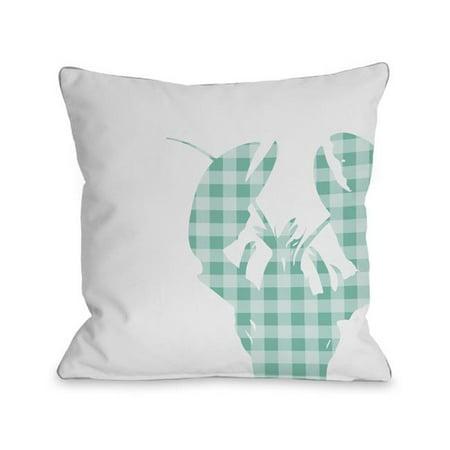 16 x 16 in. Plaid Lobster Pillow - Aqua