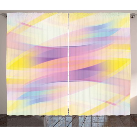 Modern Curtains 2 Panels Set, Gradient Color Tone with Shady Effect Digital Artistic Contemporary Image, Window Drapes for Living Room Bedroom, 108W X 63L Inches, Yellow Purple Peach, by (Colours That Go With Purple In A Bedroom)