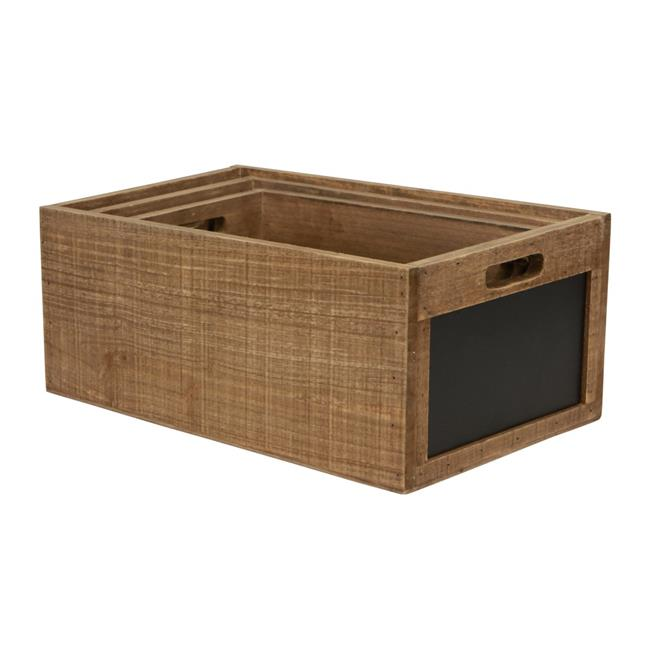 Cheungs 5060-3 7 lbs Wood Crate with Chalkboard - Set of 3