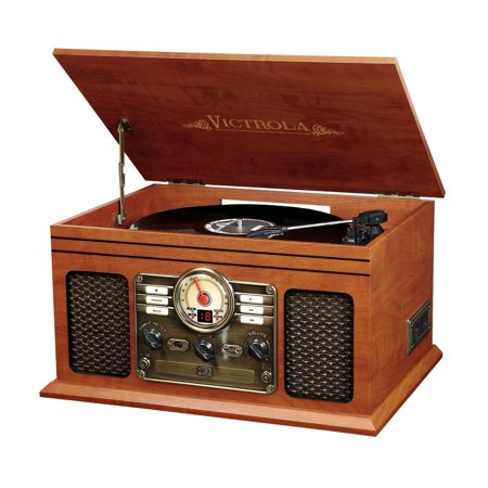 Victrola Nostalgic Classic Wood 6-in-1 Bluetooth Turntable Entertainment Center, Mahogany (Certified (Victrola 6 In 1 Bluetooth Entertainment Center Mahogany)
