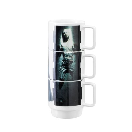 Star Wars Ceramic Stacking Mugs - Princess Leia, Carbonite Han Solo and Lando](Leia And Han)