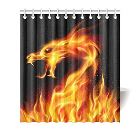 MKHERT Fiery Dragon Shower Curtain Waterproof Bath Decor 66x72 Inch