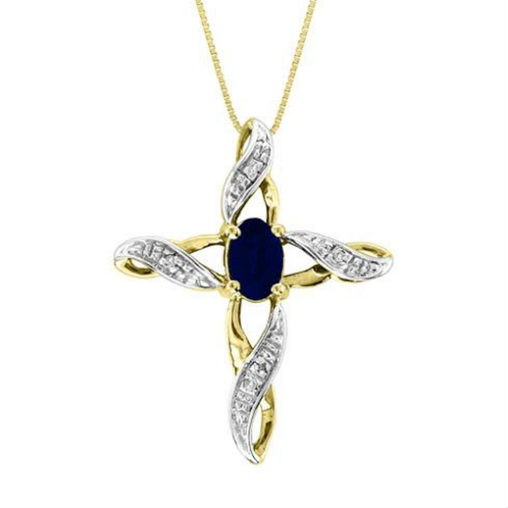 Diamond & Sapphire Cross Pendant Necklace Set In White Gold Plated or Yellow Gold Plated Silver by Elie Int.