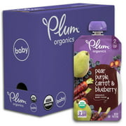 Plum Organics Stage 2 Organic Baby Food, Pear, Purple Carrot & Blueberry, 4 Ounce Pouch (Pack of 6)
