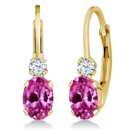 1.28 Ct Pink Created Sapphire White Created Sapphire 14K Yellow Gold Earrings
