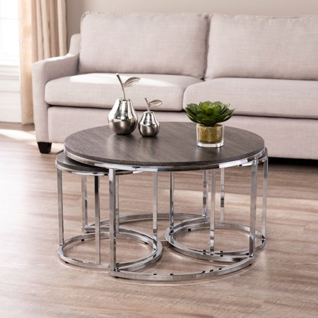 Lokyle Round Nesting Coffee Tables - 3pc Set, Glam, Silver