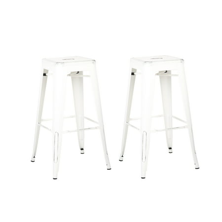 Peachy Ac Pacific Backless Distressed Metal Barstool White 30 Inch Set Of 2 Andrewgaddart Wooden Chair Designs For Living Room Andrewgaddartcom