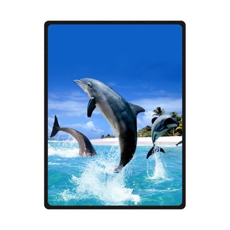 CADecor Dolphin Fleece Blanket Throw Blanket 58x80 inches