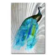 'Peacock II' by Christine Lindstrom Painting Print Plaque by All My Walls