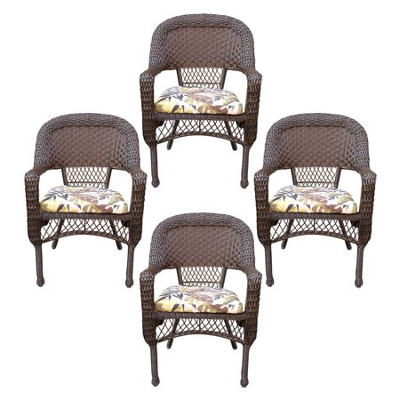 Jeco Resin Wicker Patio Dining Arm Chair in Espresso (Set of 4) ()