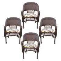 Jeco Resin Wicker Patio Dining Arm Chair in Espresso (Set of 4)