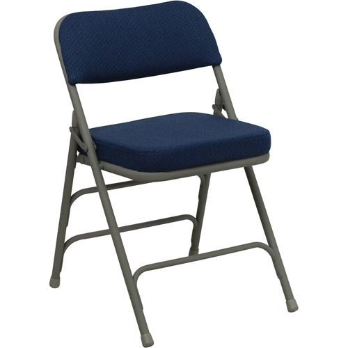 High Quality Hercules Hinged Fabric Padded Folding Chair   4 Pack, Navy Blue