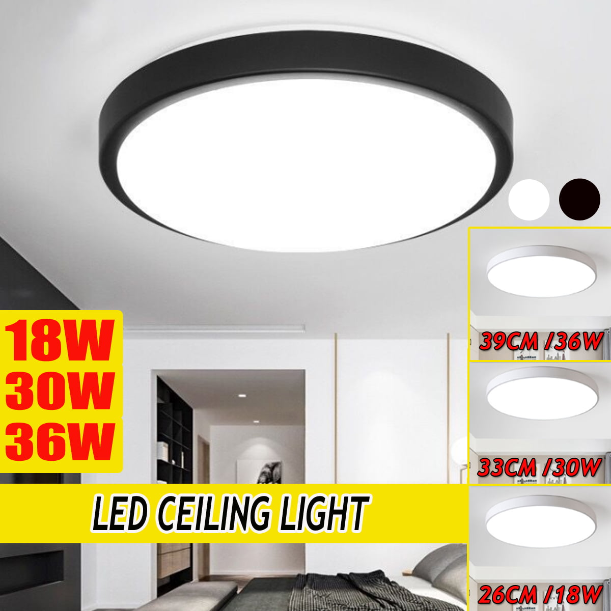 Ceiling Lights Led Flush Mount 6000k 6500k 18w 30w 36w Ceiling Lighting Fixtures Daylight White For Living Room Bedroom Kitchen Hallway Office Walmart Canada