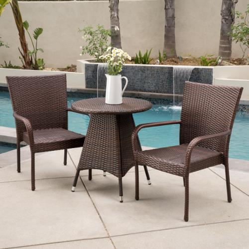 Christopher Knight Home Nelson Outdoor 3-piece Wicker Bistro Set