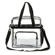 "12"" Clear PVC Messenger Bag Heavy Duty See Through Tote NFL AAF Stadium Approved Handbag Transparent Pouch Hand Bags Top Handle & Adjustable Shoulder Strap Black"