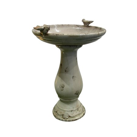 24 Inch Antique Ceramic Birdbath With Birds -Light Brown