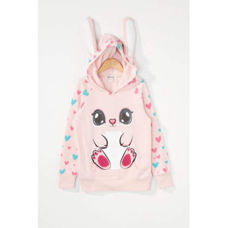 Urban Kids Youth Girls Pink Bunny Character Hoodie - image 3 of 3