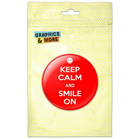 Keep Calm And Smile On Red Happy Face Pinback Button Pin Badge