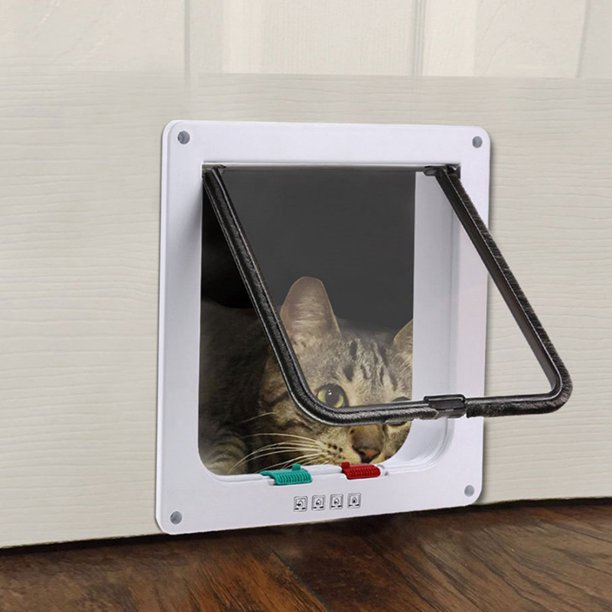 Cat Door 4 Way Locking Cat Flap Door For Interior Exterior Doors Weatherproof Pet Doors For Cats Doggie With Circumference Suitable For Window Wall Walmart Com Walmart Com