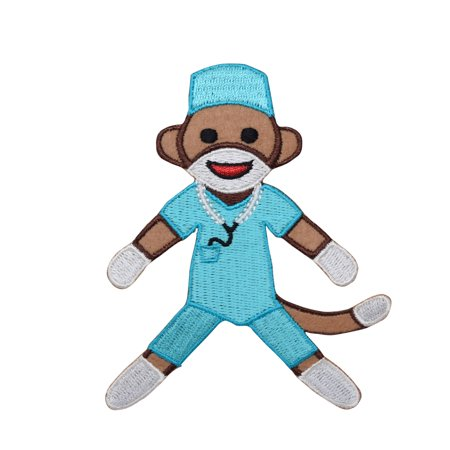 Medical - Sock Monkey - Nurse/Surgeon - Blue Scrubs - Iron On Applique/Embroidered Patch