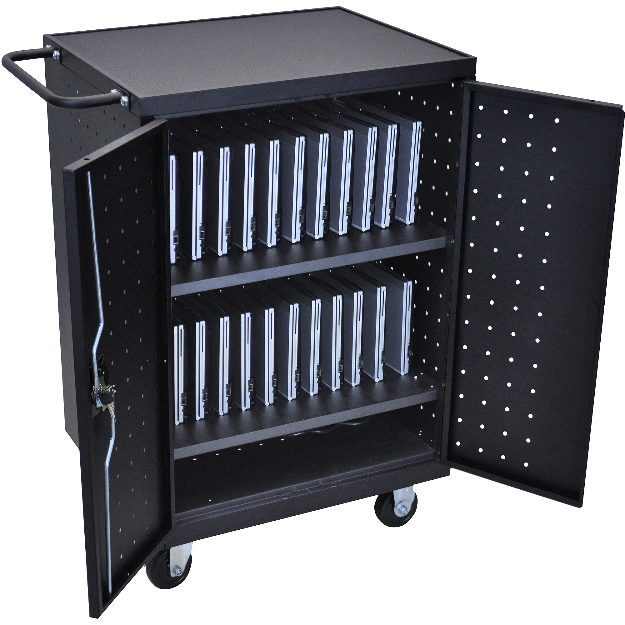 Luxor 24-Laptop/Tablet Charging Cart with Electric, Black