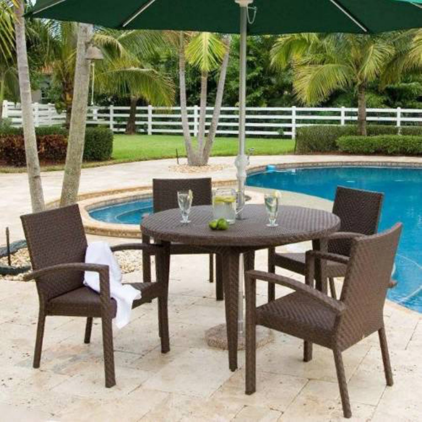 Hospitality Rattan Soho 5 Piece Patio Dining Set   Rehau Fiber Java Brown    Seats 4