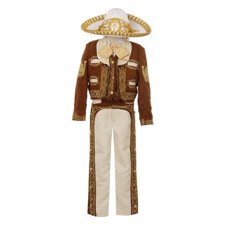 Rain Kids Boys Brown Gold Horse Embroidery Elegant 6 Pc Charro Suit ()
