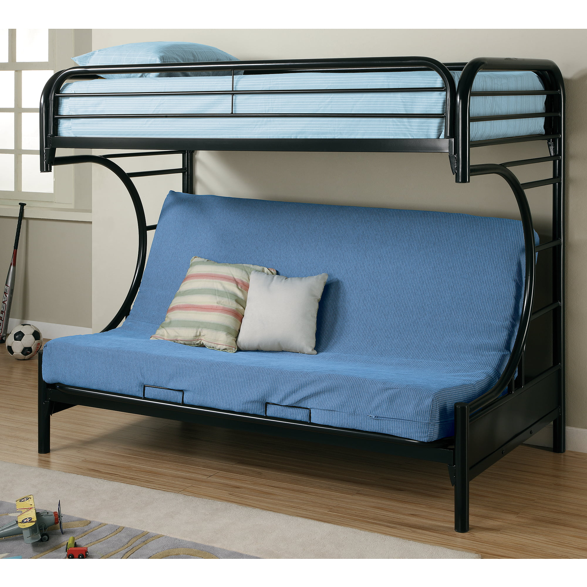 coaster c style twin over full futon metal bunk bed black   walmart   coaster c style twin over full futon metal bunk bed black      rh   walmart