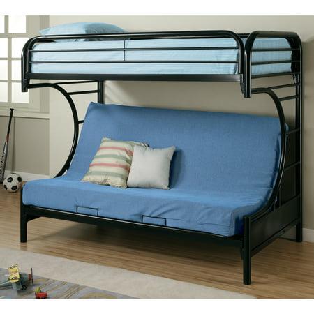 Coaster C Style Twin Over Full Futon Metal Bunk Bed Black