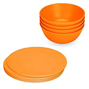 Green Eats Snack Plates & Snack Bowl Set, Orange