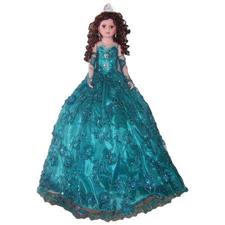 Brand New 28 Inches Quinceanera Sweet 15 Porcelain Doll Umbrella Base - Emerald Green (QDoll28 )