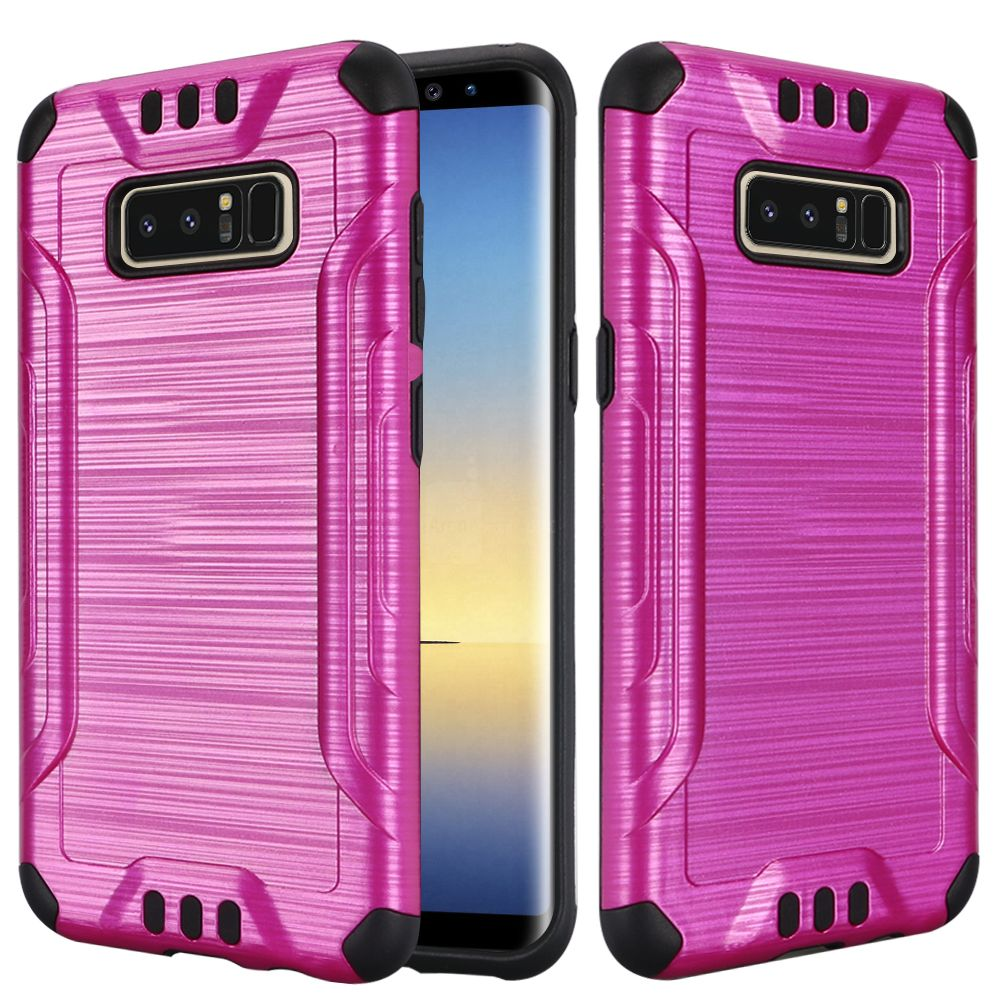 Kaleidio Case For Samsung Galaxy Note 8 [Combat Armor] Protective Brushed Metallic [Shockproof] Impact Hybrid Cover w/ Overbrawn Prying Tool [Pink/Black]