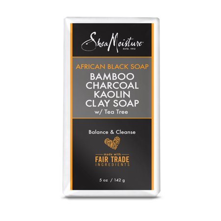 African Black Soap Bamboo Charcoal Kaolin Clay Soap - Natural Detoxifier and Skin Cleanser - Sulfate-Free with Natural and Organic Ingredients - Removes Impurities and Soothes Your Skin (5 oz)