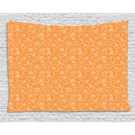 Harvest Tapestry, Pattern with Pumpkin Leaves and Swirls on Orange Backdrop Halloween Inspired, Wall Hanging for Bedroom Living Room Dorm Decor, 60W X 40L Inches, Orange White, by Ambesonne - Cookie Swirl C Halloween