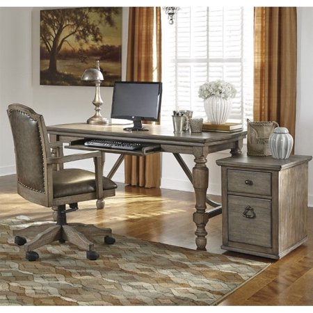 Ashley Tanshire Home Office Desk With Chair And File Cabinet In Brown