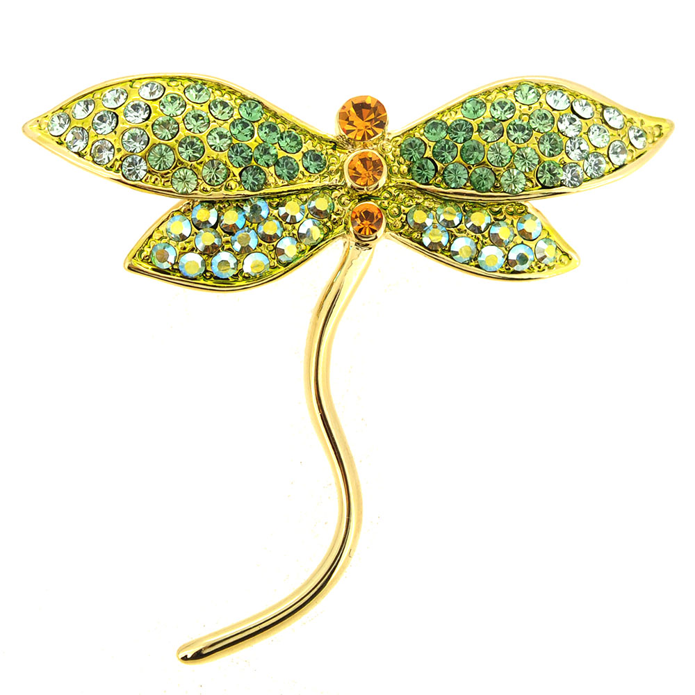 Light Green Dragonfly Crystal Pin Brooch by