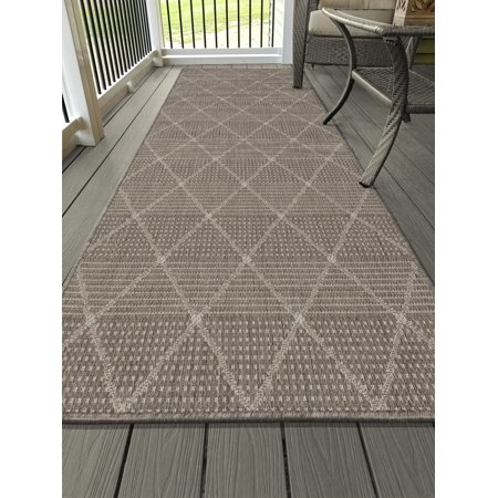 Ottomanson Jardin Collection Contemporary Trellis Design Indoor/Outdoor Jute Backing Synthetic Sisal Area Rugs and Runners ()