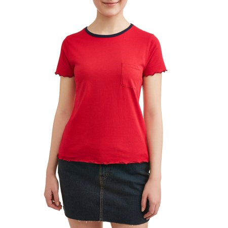 Juniors' Frilled Edge Crew Neck Short Sleeve Ringer Tee
