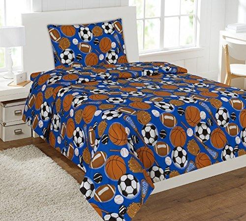Fancy Collection 6pc Twin Size Luxury Comforter Set Kids Teens Boys Sports Dark Blue Football Basketball Baseball Soccer... by