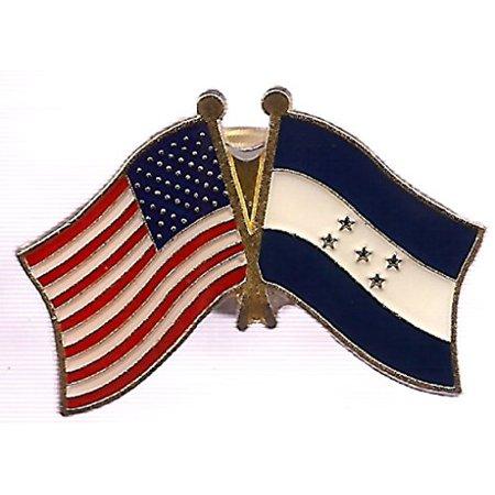 Double Circle Brooch - Box of 12 Honduras & US Crossed Flag Lapel Pins, Honduran & American Double Friendship Pin Badge
