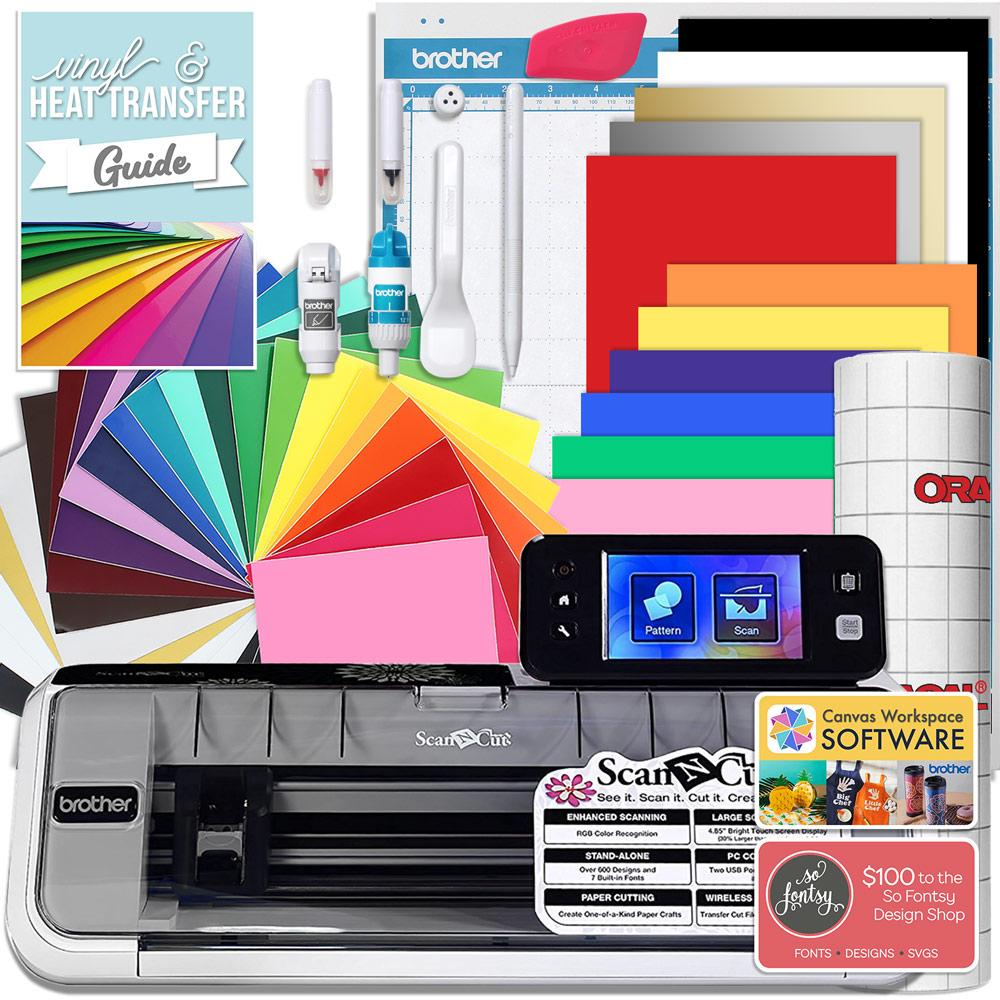 Brother ScanNCut 2 Cutting Machine Bundle With Oracal Vinyl and Siser Heat Transfer Vinyl