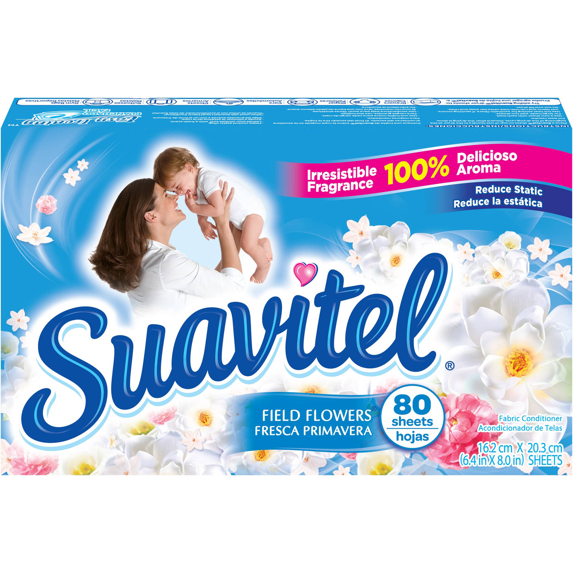 Suavitel Field Flowers Fabric Conditioner Dryer Sheets, 80 sheets